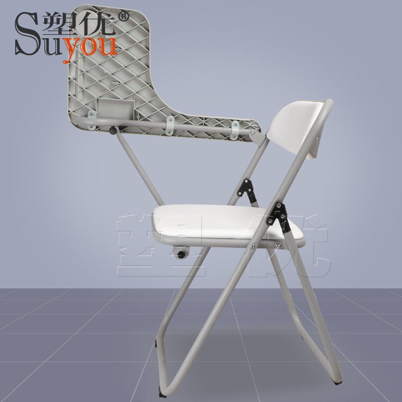 翻转写字板布/皮面软包座背折叠培训椅折叠新闻椅SY5607