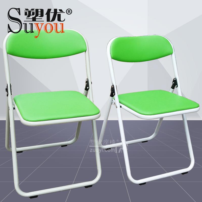 折叠椅红白蓝黑色培训椅塑胶活动椅方管椅架 33012