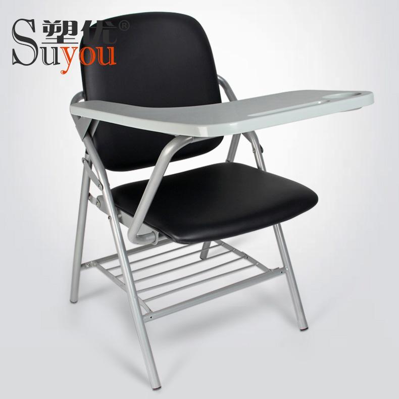 抽插写字板椅易拆装小桌板旋转可收培训椅子软包座背布/皮面SY3104